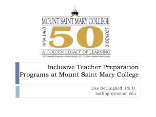 Inclusive Teacher Preparation Programs at Mount Saint Mary College