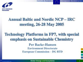 Annual Baltic and Nordic NCP – IRC meeting, 26-28 May 2005