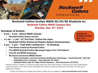 Rockwell Collins Invites MSOE EE/CE/SE Students to:  Rockwell Collins MSOE Campus Day