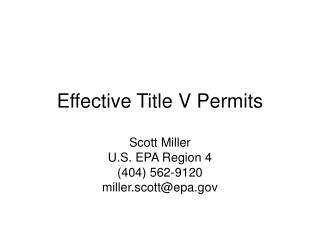 Effective Title V Permits
