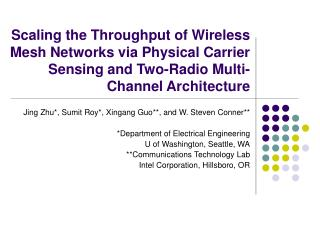 Scaling the Throughput of Wireless Mesh Networks via Physical Carrier Sensing and Two-Radio Multi-Channel Architecture