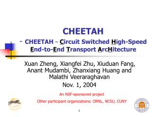 CHEETAH -  CHEETAH  – C ircuit Switched  H igh-Speed  E nd-to- E nd  T ransport  A rc H itecture