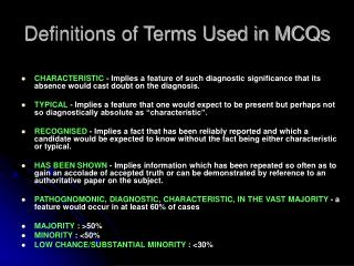 Definitions of Terms Used in MCQs