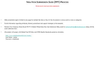New Item Submission Slide (PPT) Process