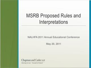 MSRB Proposed Rules and Interpretations