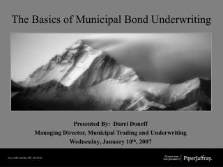 The Basics of Municipal Bond Underwriting