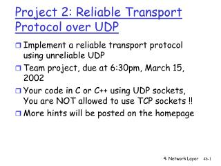 Project 2: Reliable Transport Protocol over UDP