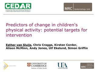 Predictors of change in children's physical activity: potential targets for intervention