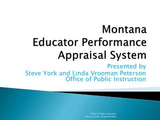 Montana Educator Performance  Appraisal System