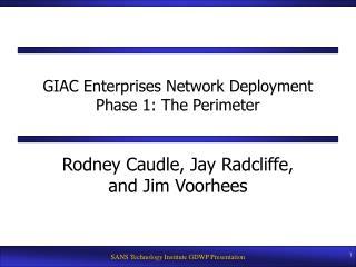 GIAC Enterprises Network Deployment Phase 1: The Perimeter