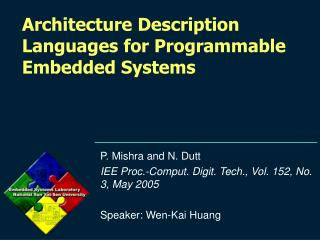 Architecture Description Languages for Programmable Embedded Systems