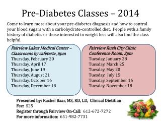 Pre-Diabetes Classes – 2014