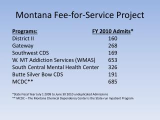 Montana Fee-for-Service Project