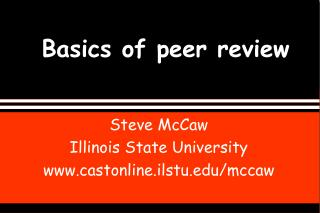 Basics of peer review