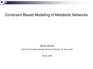 Constraint-Based Modeling of Metabolic Networks