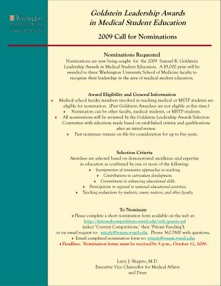 Goldstein Leadership Awards in Medical Student Education 2009 Call for Nominations