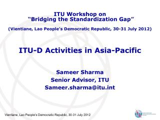 ITU-D Activities in Asia-Pacific