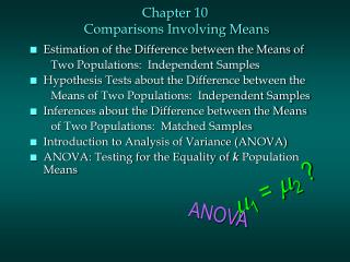 Chapter 10  Comparisons Involving Means