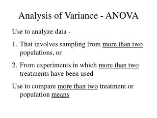 Analysis of Variance - ANOVA