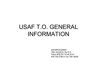 USAF T.O. GENERAL INFORMATION