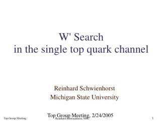W' Search in the single top quark channel