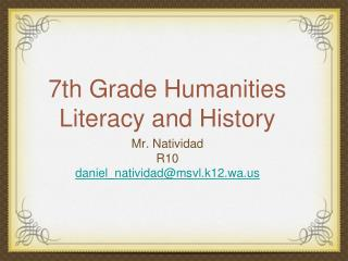 7th Grade Humanities Literacy and History