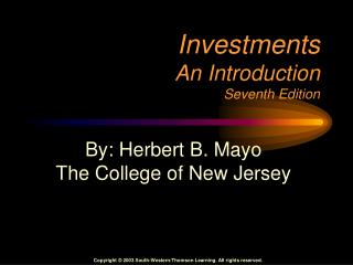 Investments An Introduction Seventh Edition