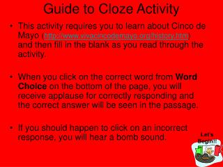 Guide to Cloze Activity