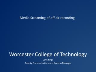 Worcester College of Technology