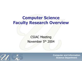 Computer Science  Faculty Research Overview