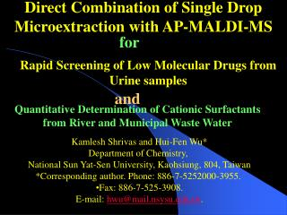 Direct Combination of Single Drop Microextraction with AP-MALDI-MS
