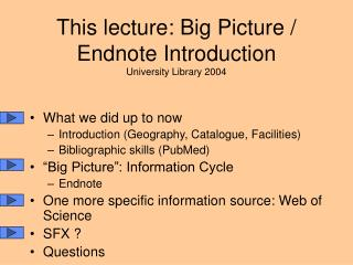 This lecture: Big Picture / Endnote Introduction University Library 2004