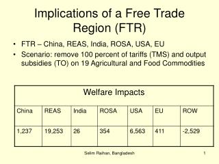 Implications of a Free Trade Region (FTR)