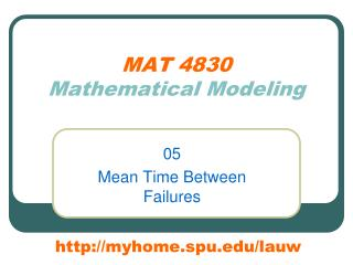 MAT 4830 Mathematical Modeling