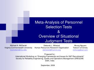Meta-Analysis of Personnel Selection Tests & Overview of Situational Judgment Tests
