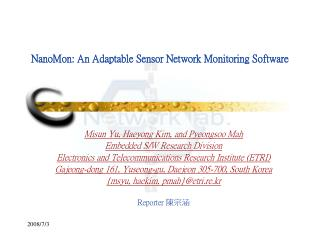 NanoMon: An Adaptable Sensor Network Monitoring Software
