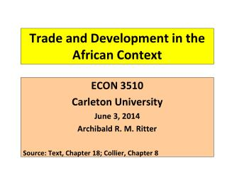 Trade and Development in the African Context