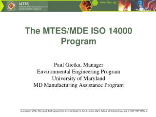 The MTES/MDE ISO 14000 Program