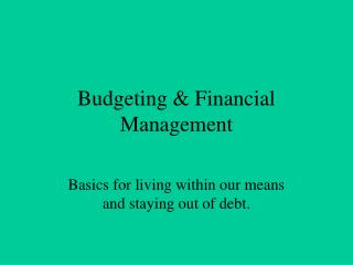 Budgeting & Financial Management