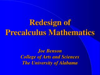 Redesign of  Precalculus Mathematics