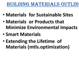 Building Materials Outline