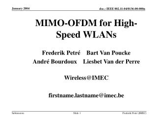MIMO-OFDM for High-Speed WLANs