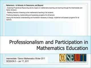Professionalism and Participation in Mathematics Education
