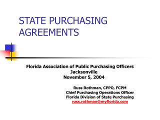 STATE PURCHASING AGREEMENTS
