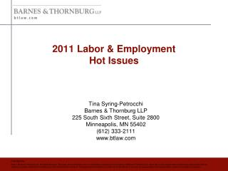 2011 Labor & Employment  Hot Issues