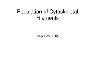 Regulation of Cytoskeletal Filaments