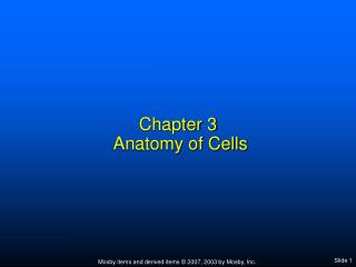 Chapter 3  Anatomy of Cells