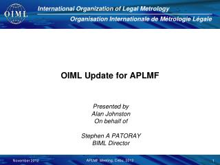 OIML Update for APLMF