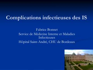 Complications infectieuses des IS