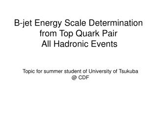 B-jet Energy Scale Determination from Top Quark Pair All Hadronic Events